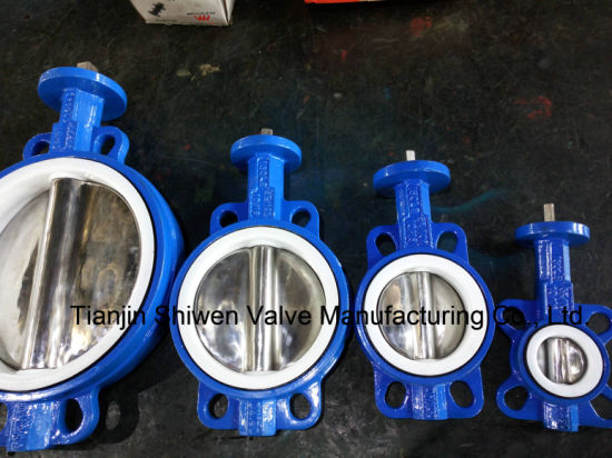 Gear Operated All Lining PTFE Anti-Corrosion Wafer Butterfly Valve pictures & photos