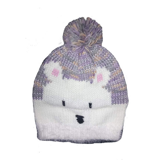 62a7e892 Children Winter Fashion Warm Bear Jacquard Embroidery Lurexy Bobble Hat Cap