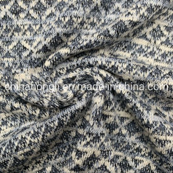 Yarn Dye Hacci Jacquard Knitting Fabric 60%Cotton 40%Polyester 258GSM for Sweater