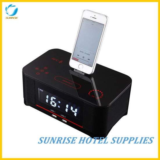 Large LCD Display Alarm Clock Docking Station for Hotel