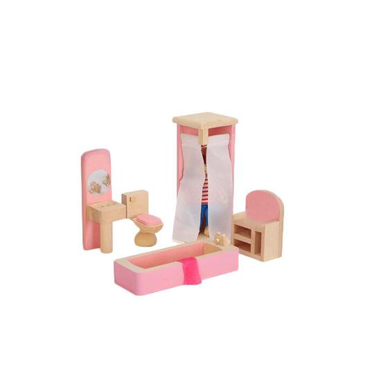 Wooden Dollhouse Bathroom Furniture Set for Kids