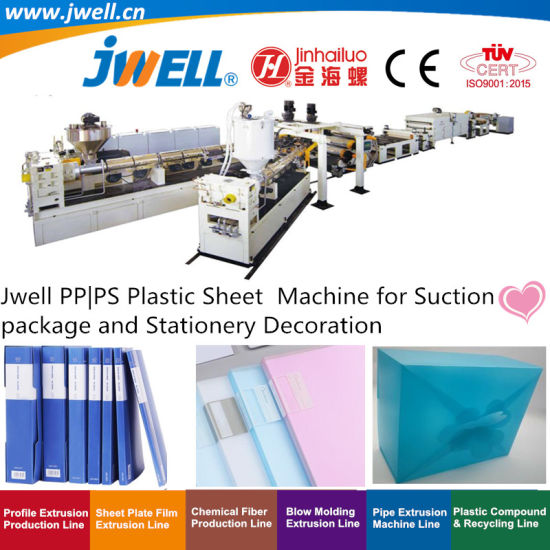 Jwell PP|PS Plastic Sheet Recycling Plastic Cup Making Extrusion Machine for Suction Package and Stationery Decoration