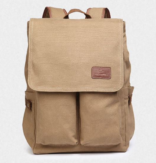 Canvas Double Shoulder Bag College Students' Schoolbag Daily Travel Bag Leisure Pack