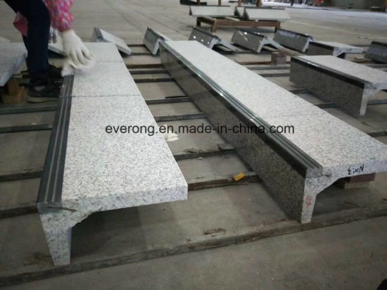 Straight Grey Granite Stone Step Stair With Antislip Strip
