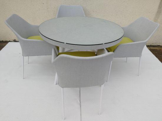 Customized Modern Home Textilene Dining Sets Garden Sets Round Tablbe