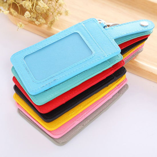 Vertical Faux Leather PU ID Badge Card Holder with 3 Pockets, Ddouble Sides Business Card Holder