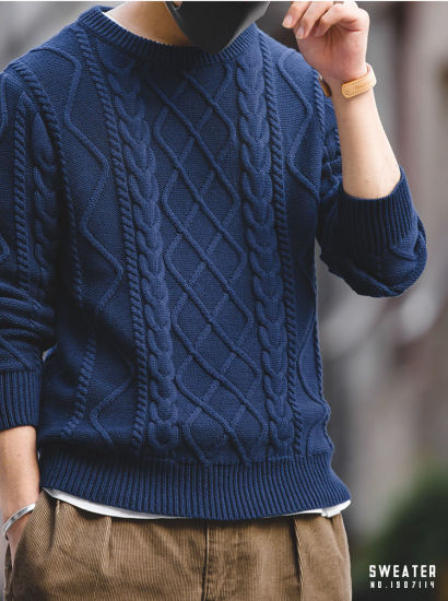 [Hot Item] Customized Hot Sale New Design Cashmere Wool Knitted Pullover Twist Men Sweater