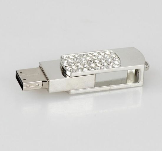 Swivel Metal Jewellry Diamond Gift USB Memory Thumb Drive Stick pictures & photos