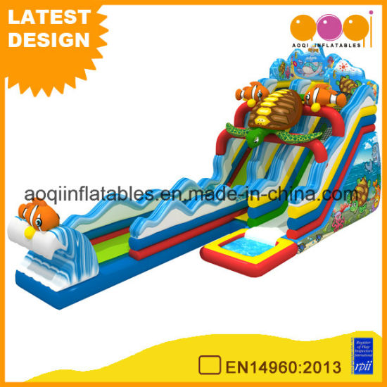 Ocean Theme Long Inflatable Water Slide for Beach (AQ01754-1) pictures & photos