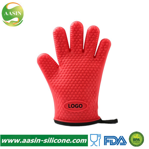 Hot Selling Silicone Heat Resistant Oven BBQ Gloves Cooking Barbecue Grilling Mitts for Kitchen