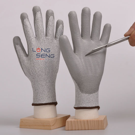 Factory! Level 3/5 Hppe Fiberglass Liner Sandy/ Foam Crinkle Nitrile Latex PU Rubber Coated Cut Resistant Cut-Proof Anti Cut Hand Protective Work Safety Gloves