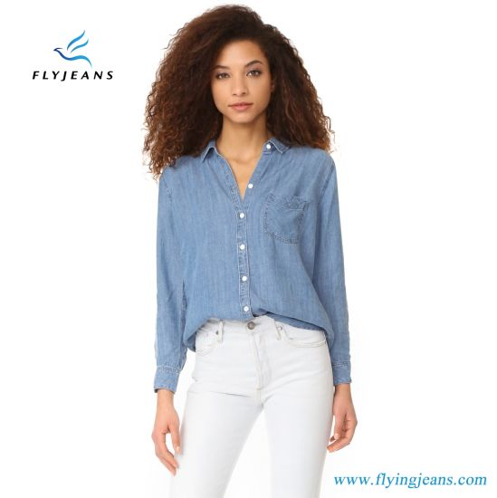 f66228b6d18 New Style Long Sleeve Women Casual Denim Shirts with Light Blue by Fly Jeans