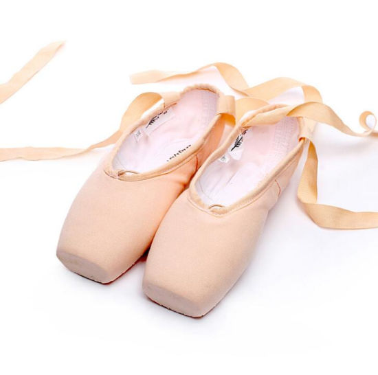 OEM Silk Hard Sole Ballet Dance Pointe Shoes with Straps pictures & photos