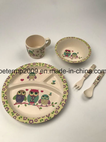 Eco-Friendly Bamboo Fiber Tableware Kids 5 Pieces Dinner Set with Plate Bowl Cup pictures & photos