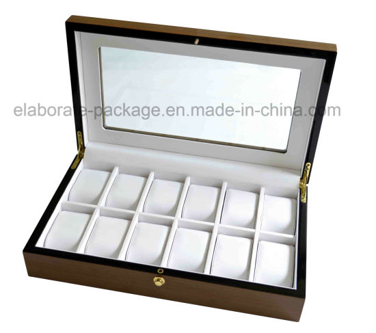 China Personalized Brand Large Glass Top Display Wooden Watch Box