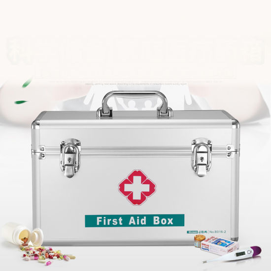 Aluminum Portable Medical First Aid Kit Storage Box With Shoulder Belt