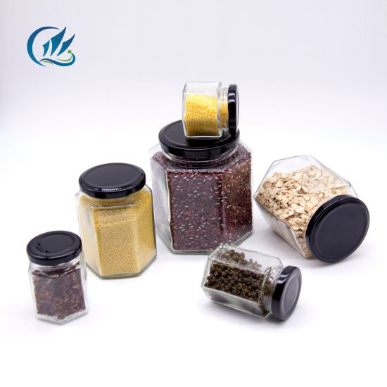 Transparent Hexagonal Shape 200ml 300ml Honey Jam Jelly Glass Jars with Metal Lid pictures & photos