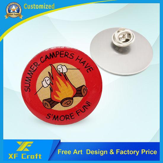 Wholesale Custom Souvenir Metal Printing Lapel Pin Anniversary School Emblem Modern Carnival Award Label Name Badge with Butterfly Clasp (BG30)