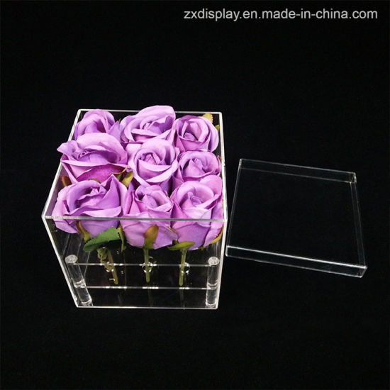 Clear 9 Holes Acrylic Flower Rose Packaging Gift Box