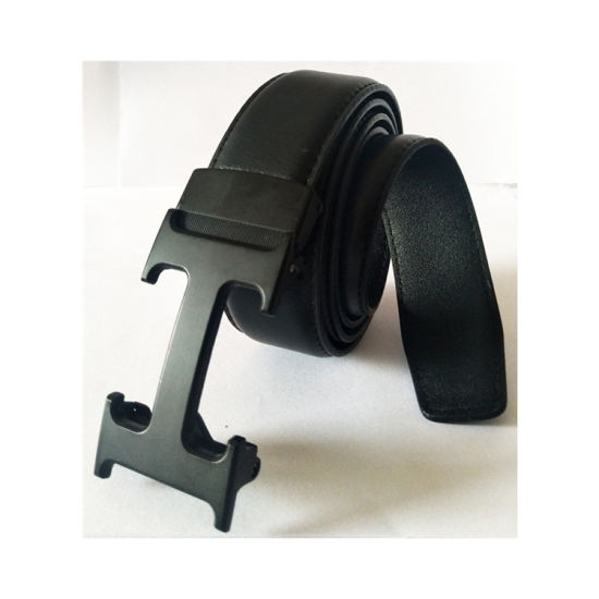 China Manufacture Customized Special Automatic Buckle Black Leather Belt