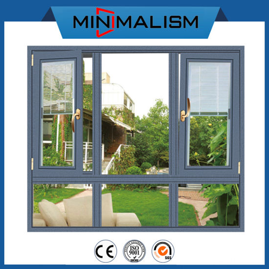 Blind Shutter Aluminium Casement Window with Double Clear/Tinted Glazing