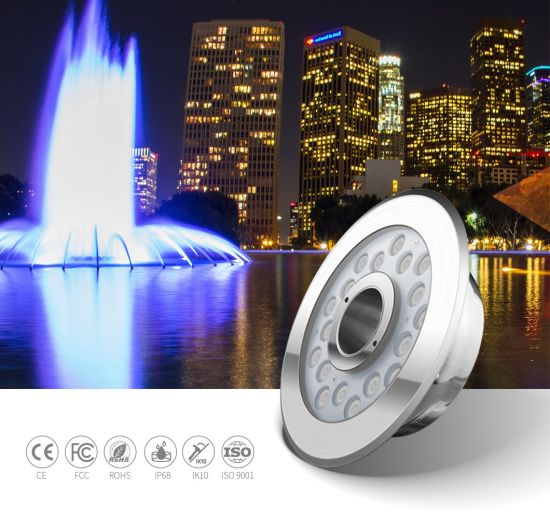 24W High Power 316L Stainless Steel External Control LED Underwater Fountain Lights