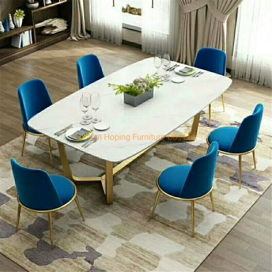 Factory Sale Modern Silver Rock Beam Top Space Saving 6 Seat Dining Table