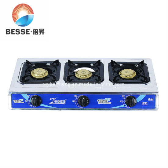 Zgbes Portable Stainless Steel Gas Cooker with 3 Golden Burners (ZG-3092R)