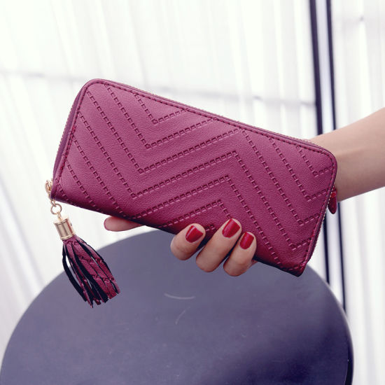 Hot Selling Leather Women PU Clutch Wallet pictures & photos