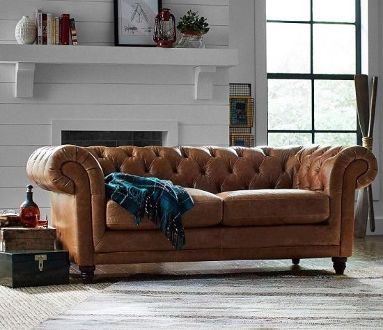 Foshan Wholesale Modern Home Furniture Brown 3 Seat Couch Living Roomgenuine Leather Sofa