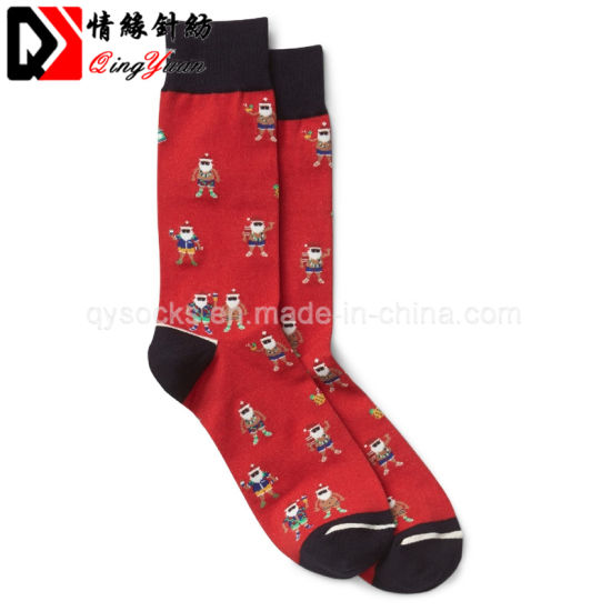 Jacquard Seamless Handlinked Toe Dress Cotton Mens Fashion Socks