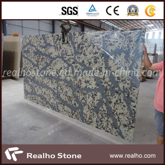 Polished Artificial Quartz Slab with Grey Veins for Sale