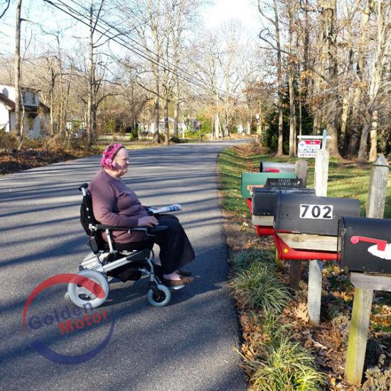China 12 Inch Rear Wheel Power Electric Folding Wheelchair