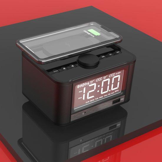 Loud Handsfree Portable Multimedia Stereo USB Alarm Qi Wireless Charging FM Radio Bluetooth Alarm Clock Mini Speaker