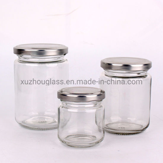 100ml 240ml 350ml Cylinder Jam Honey Glass Jar and Silver Cap pictures & photos