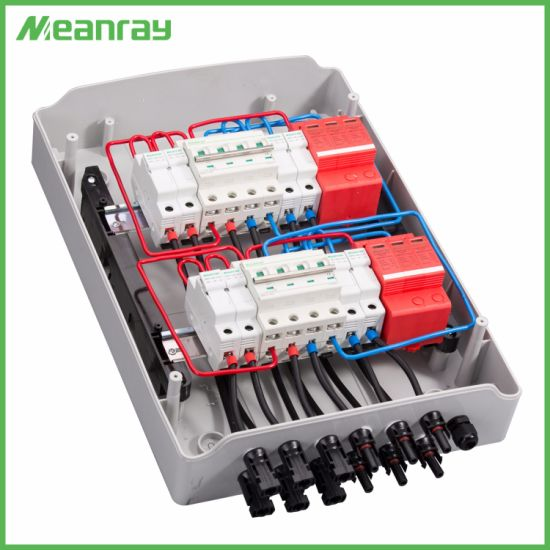 PV Junction Box with Mc4 Connector and Anti-Reverse 4 in 2 out DC/AC ABS Combiner Box
