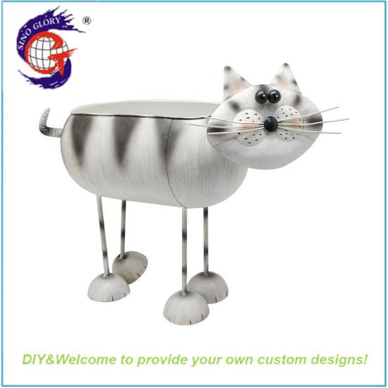 Unique Design Metal Material Cat Shaped Flower Pot Craft