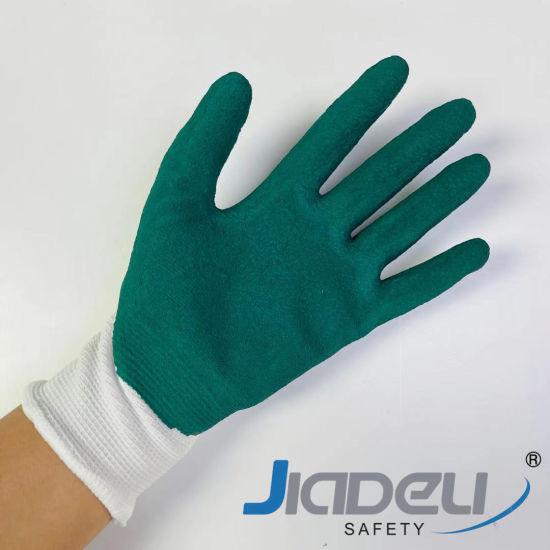 Children Protective Garden DIY Working Safety Kids 13 Gauge Nylon Liner with Green Foam Latex Small Work Gloves