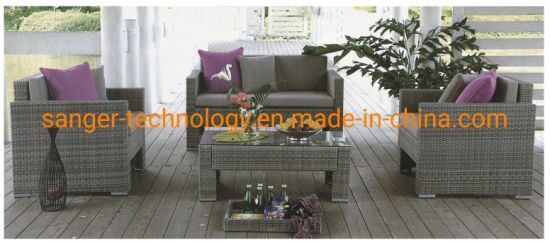 Indoor or Outdoor Patio Rattan Furniture Sets, Loveseat Sofa, Wicker Chair and Table