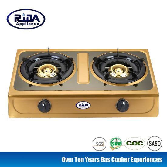 Golden Color Stainless Steel Panel Beehive Cast Iron Burner Gas Cooker