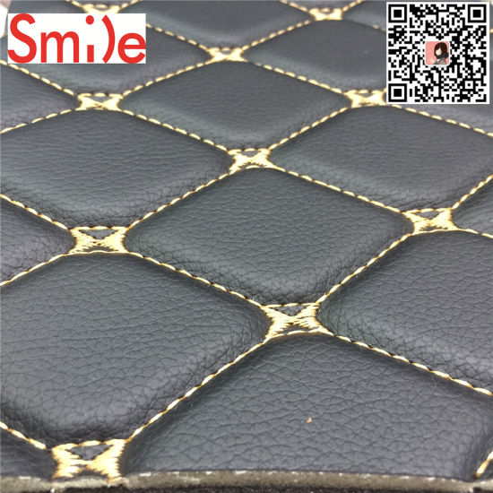 High Quality Embroidery Leather with Foam Car Seat Covering Furniture Leatheroid Sofa Leather