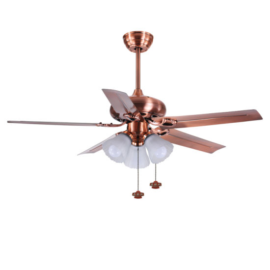 China Factory Price Red Copper Finish Five Metal Blades Pure Copper Ac Motor Ceiling Fan With Light China Copper Ceiling Fan With Light And Metal Ceiling Fans Price