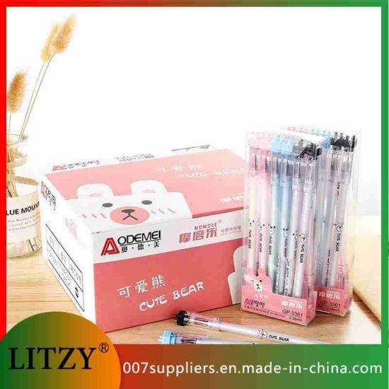 Wholesale Bear Gel Pen 0.5mm Erasable Pen Washable Handle Rod Blue Black Ink School Writing Tool