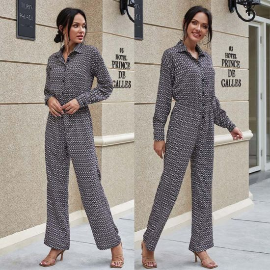 European and American New Style Autumn Lapel Fashion Temperament Button Printing Long-Sleeved Evening Dress Jumpsuit