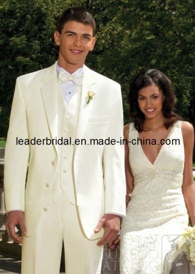 Custom Ivory Wedding Suits Formal Office Tuxedo Men Groom Suit Mc12