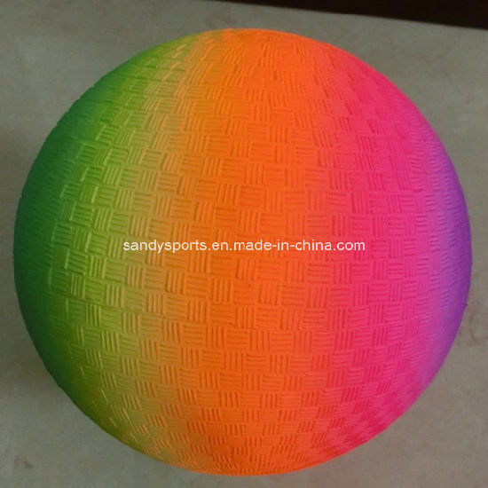 8.5 Inch Eco Friendly PVC Rainbow Playground Ball pictures & photos