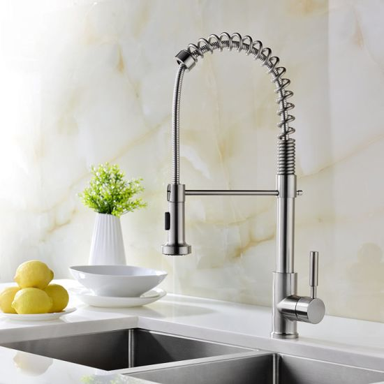 China Kitchen Faucet Brushed Stainless Steel Pull Out Sprayer