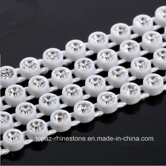 3mm Plastic Rhinestones Banding Rhinestone Trim Glass Bead Strass Crystal Banding Plastic Chains (TC-ss12/3mm clear) pictures & photos