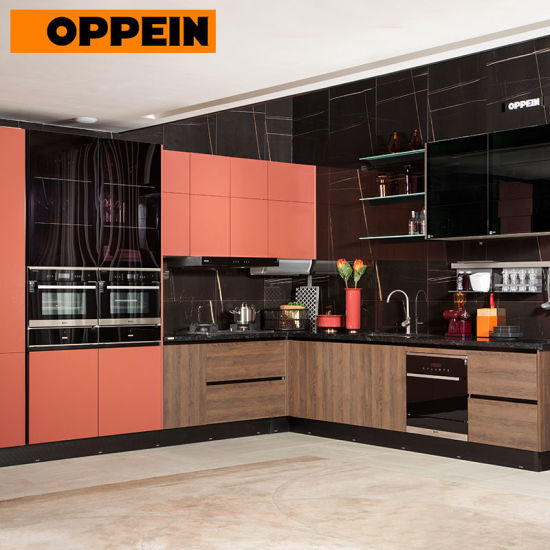China Oppein 2019 Bold Design Red Colored Painted Kitchen Cabinets China Painted Kitchen Cabinets Colored Kitchen Cabinet
