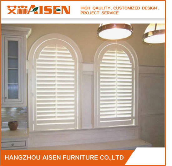2018 Most Popular White Color Window Real Basswood Plantation Shutter